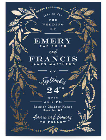 This is a portrait vintage, blue Wedding Invitations by Alethea and Ruth called Gilded Crown with Foil Pressed printing on Signature in Classic Flat Card format. This wedding invite features a crest of leaves and branches inspired by ornate head ...