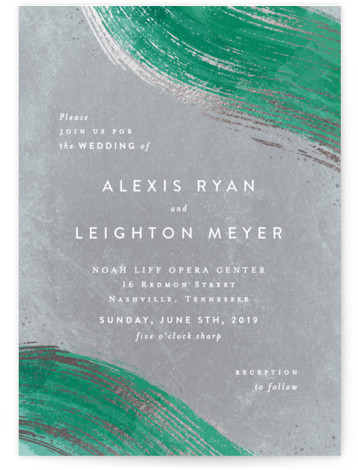 This is a portrait bohemian, hand drawn, modern, green Wedding Invitations by Hooray Creative called Abstract Splendor with Foil Pressed printing on Signature in Classic Flat Card format. An abstract organic design mixing modern type with natural earthy textures and ...