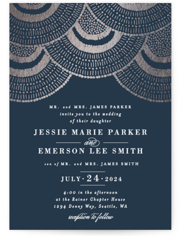 This is a portrait bohemian, rustic, blue Wedding Invitations by Alethea and Ruth called Deco Fringe with Foil Pressed printing on Signature in Classic Flat Card format. This wedding invite was inspired by deco beaded dresses and fringe details.