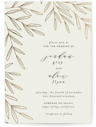 Olive Frame Foil-Pressed Wedding Invitations