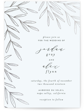 This is a portrait floral, blue Wedding Invitations by Everett Paper Goods called Olive Frame with Foil Pressed printing on Signature in Classic Flat Card format. This wedding invitation features a unique, asymmetrical composition and whimsical hand drawn, foiled olive ...