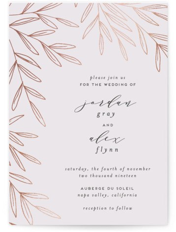 This is a portrait floral, purple, rosegold Wedding Invitations by Everett Paper Goods called Olive Frame with Foil Pressed printing on Signature in Classic Flat Card format. This wedding invitation features a unique, asymmetrical composition and whimsical hand drawn, foiled ...