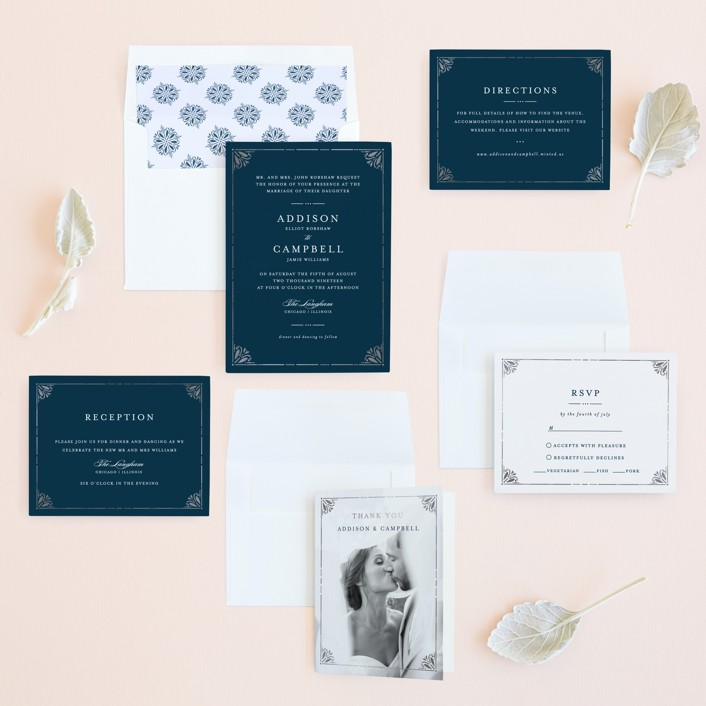 Victorian Frame Foil-Pressed Wedding Invitations by Bethan | Minted