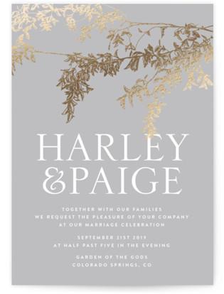 Lush Garland Foil-Pressed Wedding Invitations