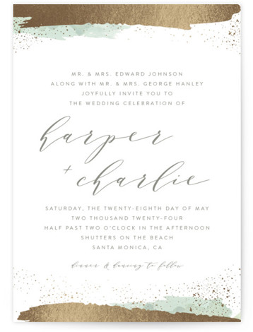 This is a portrait beach, bohemian, green, gold Wedding Invitations by Carolyn Nicks called Tide with Foil Pressed printing on Signature in Classic Flat Card format. This modern invitation features foiled brush strokes and dots reminiscent of a tide