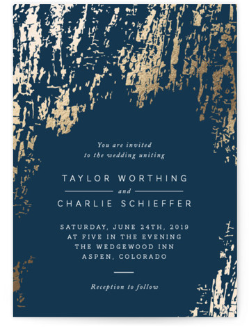 This is a portrait rustic, blue, gold Wedding Invitations by Kimberly Morgan called Timber with Foil Pressed printing on Signature in Classic Flat Card format. A gorgeous rich texture in gold foil sets the tone for an elegant and rustic ...