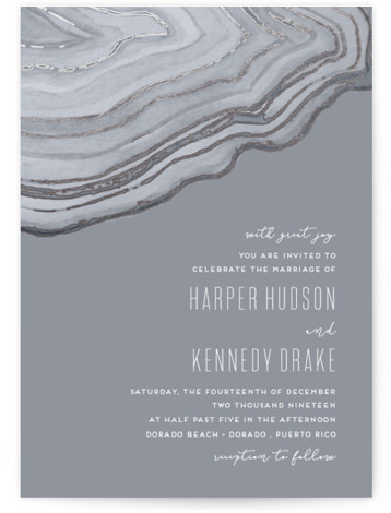 This is a portrait bohemian, hand drawn, grey, silver Wedding Invitations by Kaydi Bishop called Modern Agate with Foil Pressed printing on Signature in Classic Flat Card format. Hand painted watercolor agate in a strikingly modern layout accented with rose ...