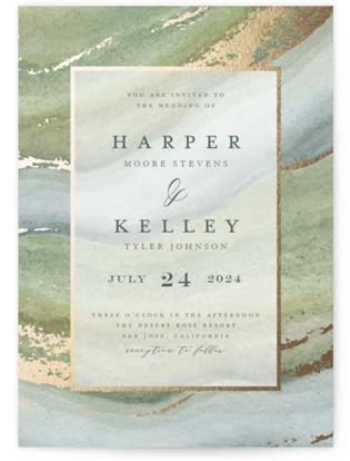 Coastal Lines Foil-Pressed Wedding Invitations
