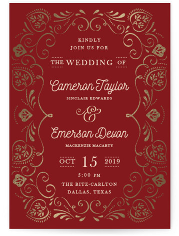 This is a portrait floral, vintage, gold, red Wedding Invitations by Ana de Sousa called Sweet leaves with Foil Pressed printing on Signature in Classic Flat Card format. A very elegant card that features a frame inspired in natural elements ...