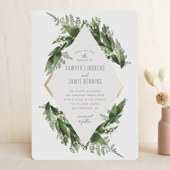 """Diamante"" - Foil-pressed Wedding Invitations in Forest by Leah Bisch."