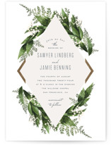 This is a green foil stamped wedding invitation by Leah Bisch called Diamante with foil-pressed printing on signature in standard.