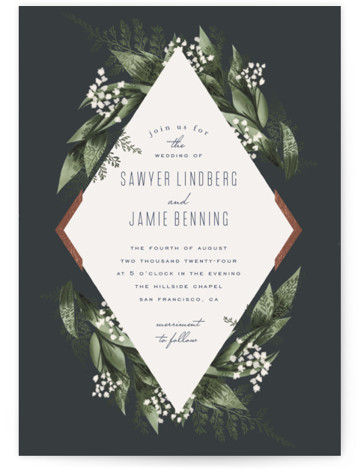 This is a portrait botanical, blue, rosegold Wedding Invitations by Leah Bisch called Diamante with Foil Pressed printing on Signature in Classic Flat Card format. A modern and elegant save the date with botanical details