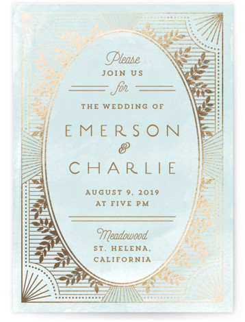 This is a portrait vintage, whimsical, blue Wedding Invitations by Chris Griffith called Elegant Lines with Foil Pressed printing on Signature in Classic Flat Card format. Watercolor, leafy patterns and a deco trim set the theme for an elegant design ...