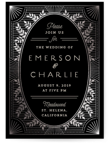 This is a portrait vintage, whimsical, black Wedding Invitations by Chris Griffith called Elegant Lines with Foil Pressed printing on Signature in Classic Flat Card format. Watercolor, leafy patterns and a deco trim set the theme for an elegant design ...