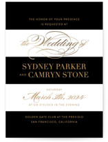 This is a black foil stamped wedding invitation by Jill Means called Fashion District with foil-pressed printing on signature in standard.