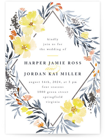 This is a portrait botanical, floral, yellow, silver Wedding Invitations by Qing Ji called Poetic Blue with Foil Pressed printing on Signature in Classic Flat Card format. This beautiful and modern design features hand painted watercolor flowers in various shades ...