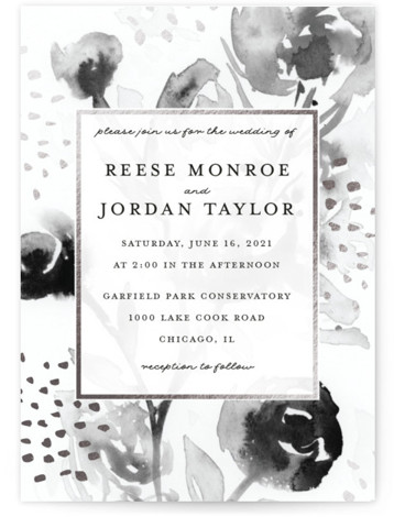 This is a portrait botanical, painterly, grey, silver Wedding Invitations by Lindsay Megahed called Modern Muse with Foil Pressed printing on Signature in Classic Flat Card format. Soft watercolor floral contrasted with graphic dots in foil creates a modern wedding ...