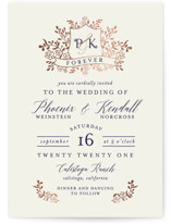 This is a brown foil stamped wedding invitation by Chris Griffith called Crested Monogram with foil-pressed printing on signature in standard.