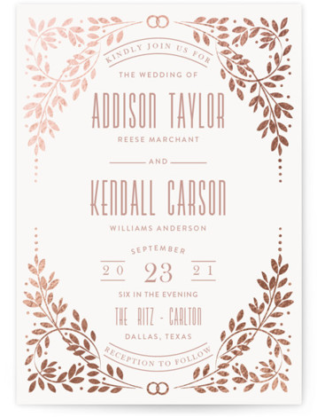 This is a portrait brown, pink Wedding Invitations by Ana de Sousa called Silver foliage frame with Foil Pressed printing on Signature in Classic Flat Card format. A wedding card featuring a leaf pattern.