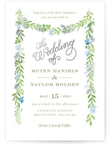 This is a portrait botanical, blue, green, silver Wedding Invitations by Jennifer Wick called Garland of greens with Foil Pressed printing on Signature in Classic Flat Card format. An organic garland of greens and soft florals on a crisp white ...