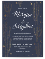 This is a blue foil stamped wedding invitation by Cass Loh called desert dream with foil-pressed printing on signature in standard.