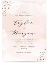 This is a pink foil stamped wedding invitation by Jennifer Postorino called Formal Watercolor with foil-pressed printing on signature in standard.