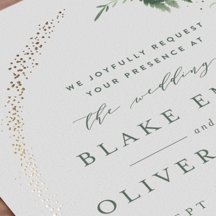 Sparkling Ferns Foil-Pressed Wedding Invitations By
