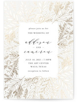 This is a white foil stamped wedding invitation by Annie Montgomery called Golden Fields with foil-pressed printing on signature in standard.