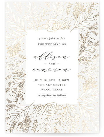 This is a portrait white, gold Wedding Invitations by Annie Montgomery called Golden Fields with Foil Pressed printing on Signature in Classic Flat Card format. Intricately laid flora in a foil patterned background to this elegant, photo Save the Date. ...