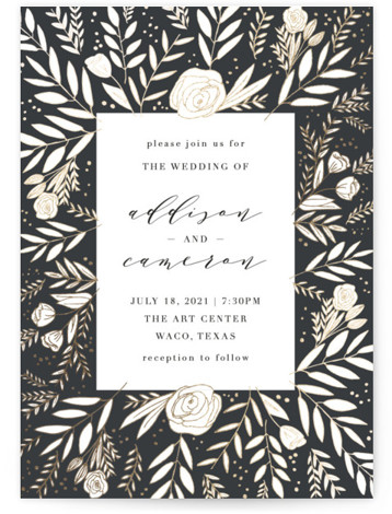 This is a portrait grey, gold Wedding Invitations by Annie Montgomery called Golden Fields with Foil Pressed printing on Signature in Classic Flat Card format. Intricately laid flora in a foil patterned background to this elegant, photo Save the Date. ...