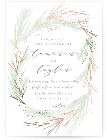 This is a portrait bohemian, green, rosegold Wedding Invitations by Kristie Kern called Crush with Foil Pressed printing on Signature in Classic Flat Card format. A lovely soft frost and gold foil pines surround your favorite photo.