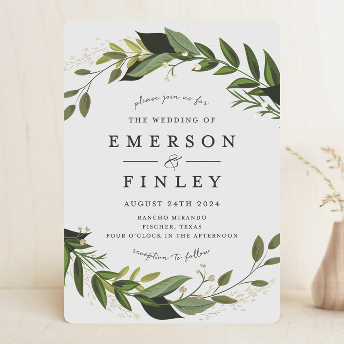 """""""Vines of Green"""" - Foil-pressed Wedding Invitations in Fern by Susan Moyal."""