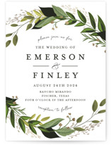 This is a green foil stamped wedding invitation by Susan Moyal called Vines of Green with foil-pressed printing on signature in standard.