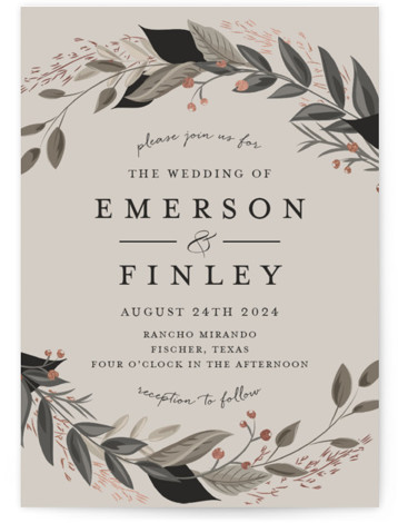 This is a portrait brown, grey, rosegold Wedding Invitations by Susan Moyal called Vines of Green with Foil Pressed printing on Signature in Classic Flat Card format. This wedding invitation features an array of fresh greenery.