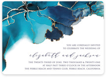 This is a blue foil stamped wedding invitation by Erin Deegan called Modern Tide Pools with foil-pressed printing on signature in standard.