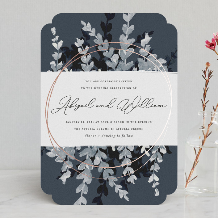 """""""Sprigs of Romance"""" - Modern Foil-pressed Wedding Invitations in Royal by Papernoten."""