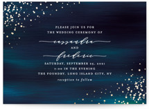 This is a blue foil stamped wedding invitation by Ana Sharpe called Cosmic with foil-pressed printing on signature in standard.