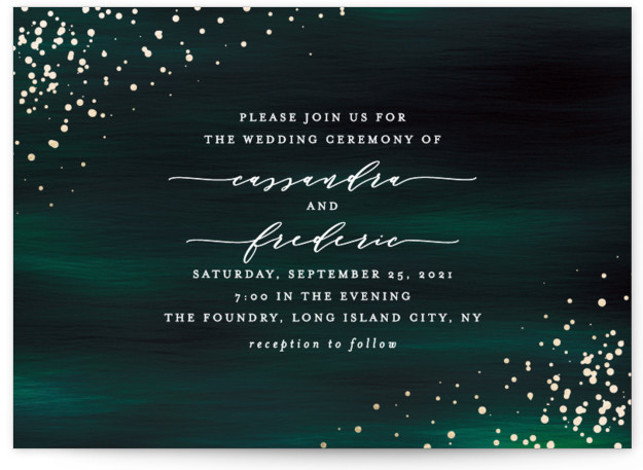 This is a landscape modern, painterly, green Wedding Invitations by Ana Sharpe called Cosmic with Foil Pressed printing on Signature in Classic Flat Card format. Another romantic wedding invitation featuring original illustration background inspired by the universe.