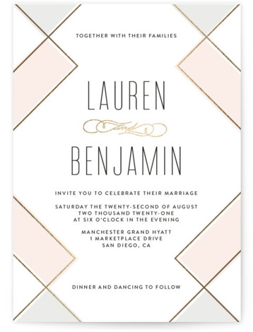 This is a pink foil stamped wedding invitation by Erica Krystek called Soft Glass with foil-pressed printing on signature in standard.