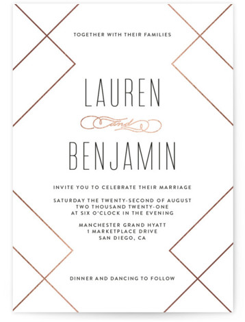 This is a portrait modern, white, rosegold Wedding Invitations by Erica Krystek called Soft Glass with Foil Pressed printing on Signature in Classic Flat Card format. This modern design pairs chic, angled lines with and soft color palette.