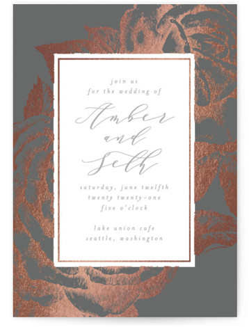 This is a portrait botanical, grey, rosegold Wedding Invitations by AK Graphics called Fleur with Foil Pressed printing on Signature in Classic Flat Card format. A beautiful wedding announcement featuring antique gilded roses.