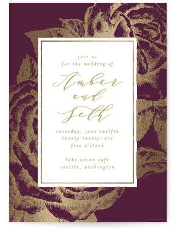 This is a portrait botanical, gold, purple Wedding Invitations by AK Graphics called Fleur with Foil Pressed printing on Signature in Classic Flat Card format. A beautiful wedding announcement featuring antique gilded roses.