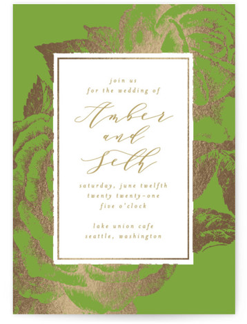 This is a portrait botanical, gold, green Wedding Invitations by AK Graphics called Fleur with Foil Pressed printing on Signature in Classic Flat Card format. A beautiful wedding announcement featuring antique gilded roses.