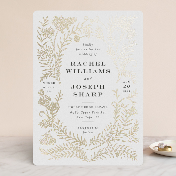 """Lacy Meadow Ovals"" - Foil-pressed Wedding Invitations in Gold Leaf by Shiny Penny Studio."