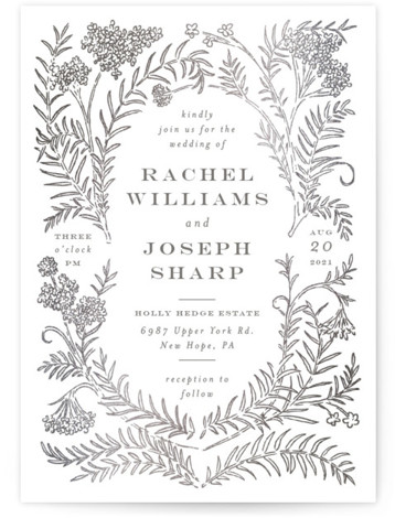This is a portrait botanical, grey Wedding Invitations by Shiny Penny Studio called Lacy Meadow Ovals with Foil Pressed printing on Signature in Classic Flat Card format. This foil invitation features detailed florals and branches curved around to create multiple ...