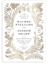 This is a black foil stamped wedding invitation by Shiny Penny Studio called Lacy Meadow Ovals with foil-pressed printing on signature in standard.