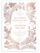 This is a pink foil stamped wedding invitation by Shiny Penny Studio called Lacy Meadow Ovals with foil-pressed printing on signature in standard.