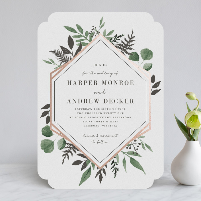 """Shade Garden"" - Foil-pressed Wedding Invitations in Leaf by Robin Ott."
