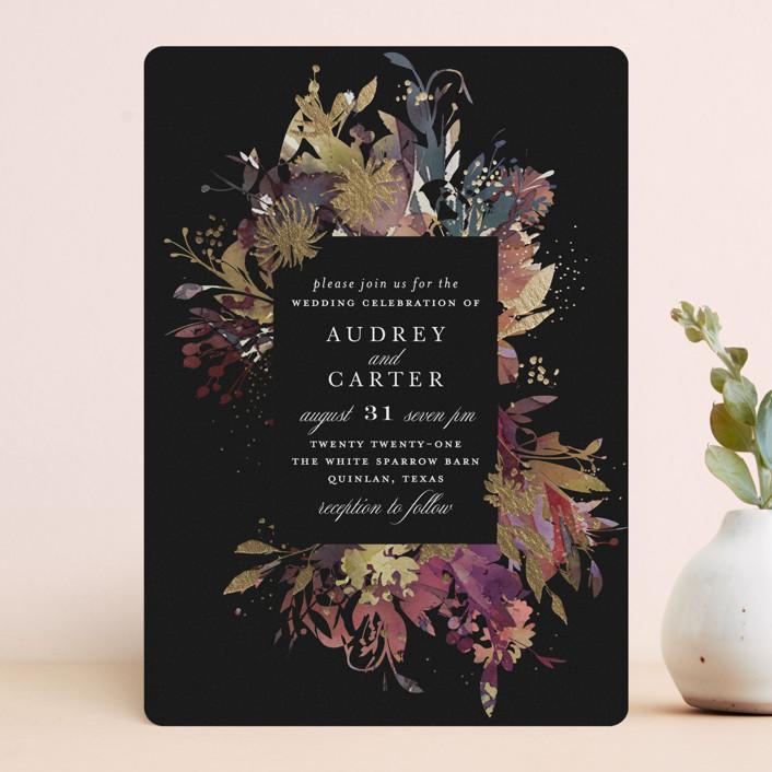 """Fantasy"" - Rustic Foil-pressed Wedding Invitations in Noir by Lori Wemple."