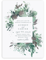 This is a green foil stamped wedding invitation by Lori Wemple called Fantasy with foil-pressed printing on signature in standard.